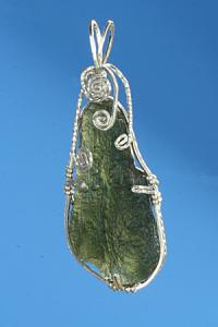 Moldavite pendant with silver wire wrapping